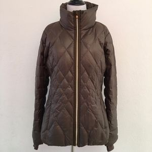 Athleta Down Diamond Quilted Jacket Size M Green